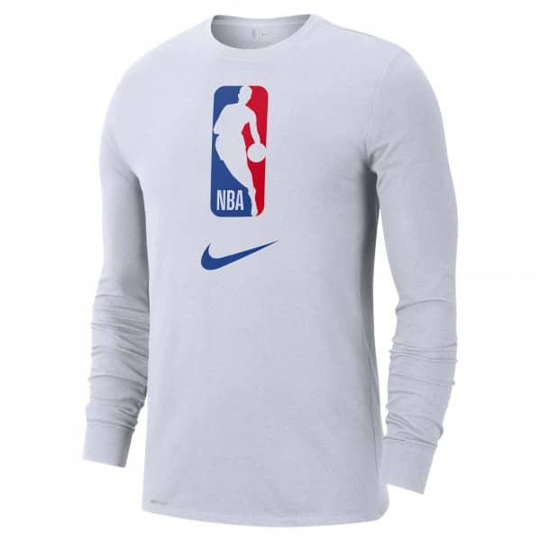 NBA Logoman Nike Dri-FIT Basketball Longsleeve Shirt Weiß