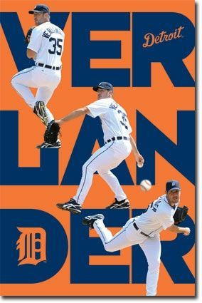 Detroit Tigers Justin Verlander Triple Action Baseball MLB Poster RP5735