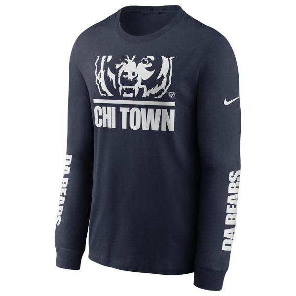 Chicago Bears Split Local Nike Long Sleeve Shirt Navy