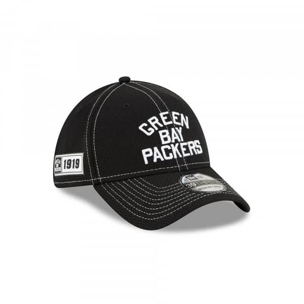 Green Bay Packers Throwback 2019 NFL Sideline Black 39THIRTY Stretch Cap Road