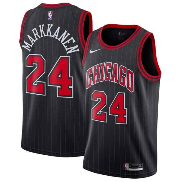 Lauri Markkanen #24 Chicago Bulls Statement Swingman NBA Trikot Schwarz