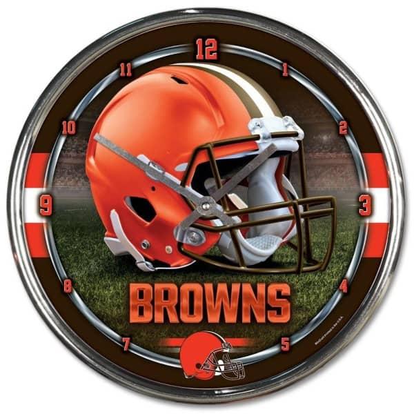 Cleveland Browns Chrome NFL Wanduhr