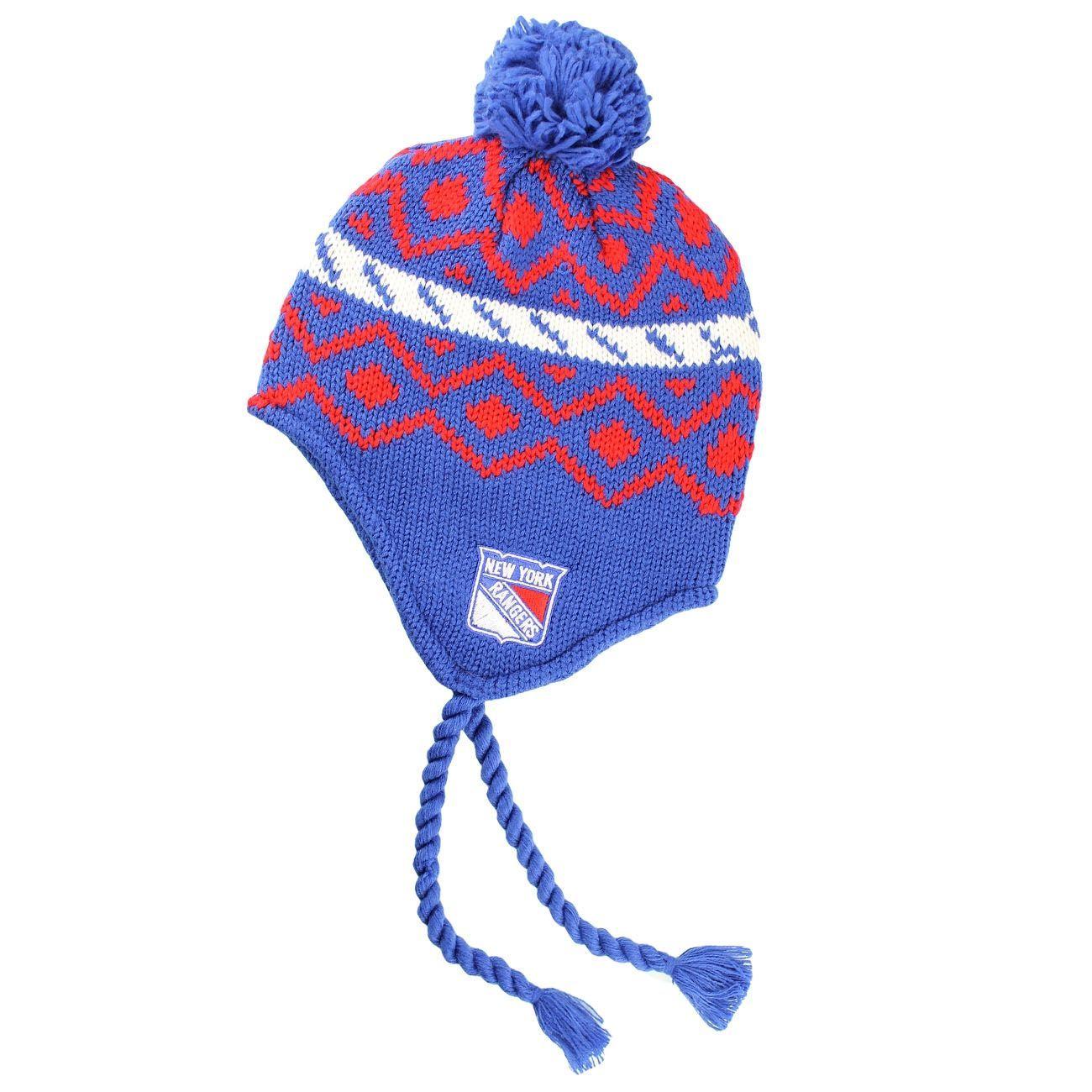 a3c257ba4e5 Reebok New York Rangers Tassle NHL Knit Hat  w Pom