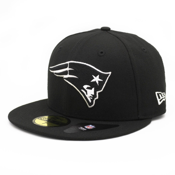 New England Patriots Black & White 59FIFTY Fitted NFL Cap