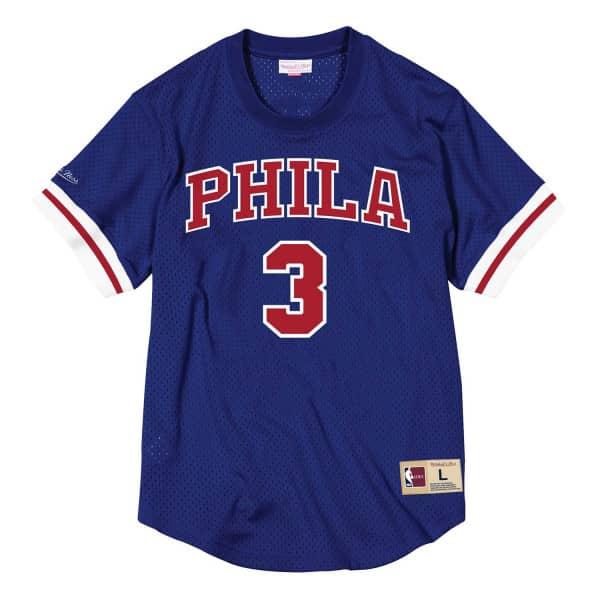fd95cdbe5 Mitchell   Ness Allen Iverson  3 Philadelphia 76ers PHILA HWC NBA Mesh  Crewneck Shirt