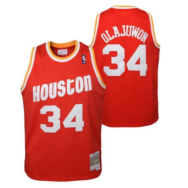 Hakeem Olajuwon #34 Houston Rockets 1993-94 Youth Swingman NBA Trikot Rot (KINDER)