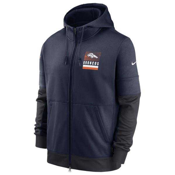 Denver Broncos 2020 NFL Sideline Lockup Nike Therma Full-Zip Hoodie