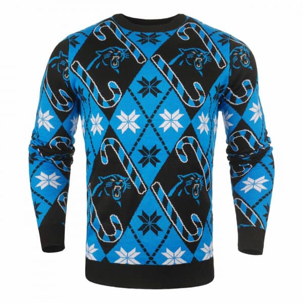 Forever Cellectibles Carolina Panthers CANDY CANE Crewneck NFL Ugly Sweater   149c30ce6
