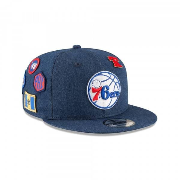 e61749e58fd New Era Philadelphia 76ers 2018 NBA Draft 9FIFTY Snapback Cap Blue Denim