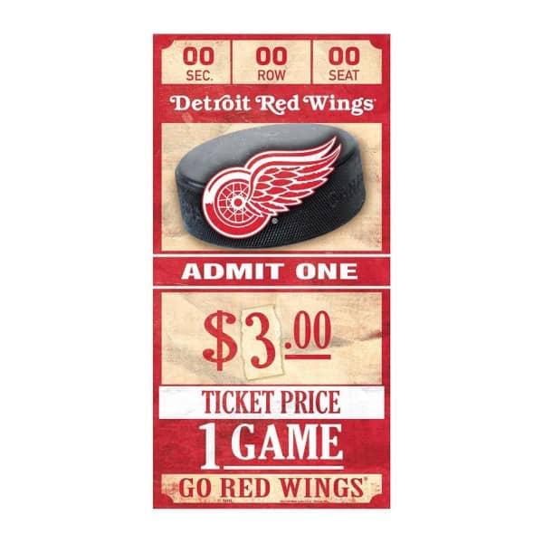Detroit Red Wings NHL Ticket Schild