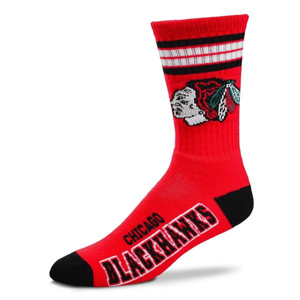 Chicago Blackhawks 4 Stripe Crew NHL Socken Rot