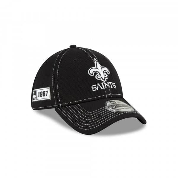 New Orleans Saints 2019 NFL Sideline Black 39THIRTY Stretch Cap Road