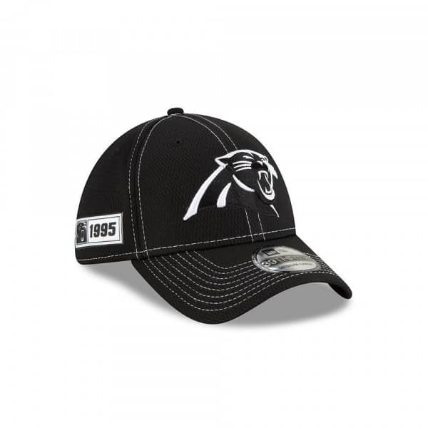 Carolina Panthers 2019 NFL Sideline Black 39THIRTY Stretch Cap Road