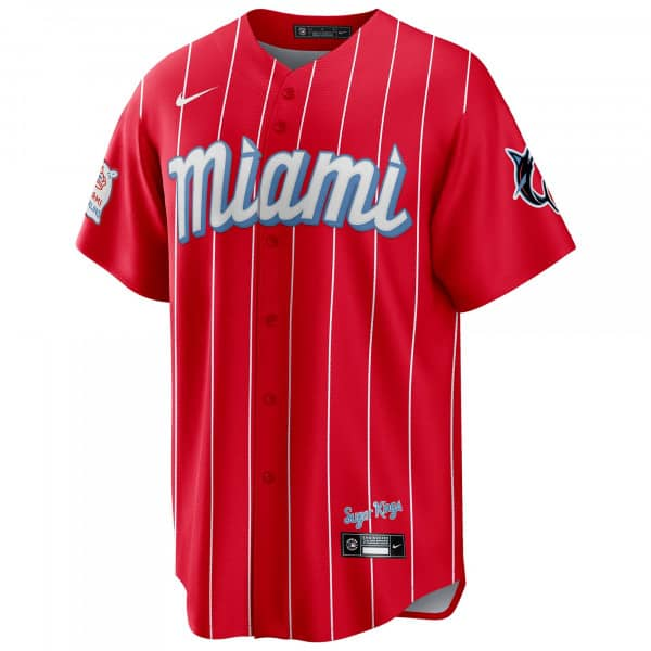 Miami Marlins Official Replica Nike 2021 City Connect MLB Trikot Rot