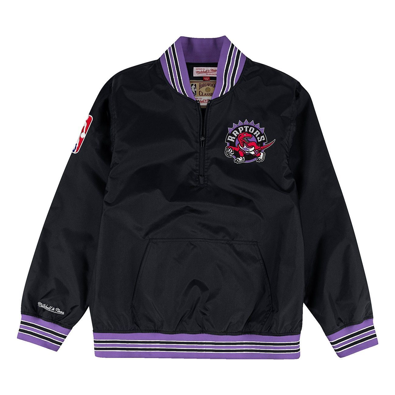 Mitchell   Ness Toronto Raptors 1 4 Zip Nylon NBA Jacket Black ... 984b8af5e