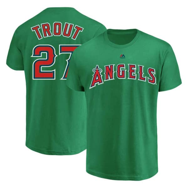 promo code 5008d 3a76c Majestic Mike Trout  27 Los Angeles Angels Player MLB T-Shirt Green    TAASS.com Fan Shop