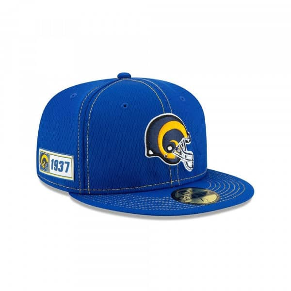 Los Angeles Rams Helmet 2019 NFL On-Field Sideline 59FIFTY Fitted Cap Road