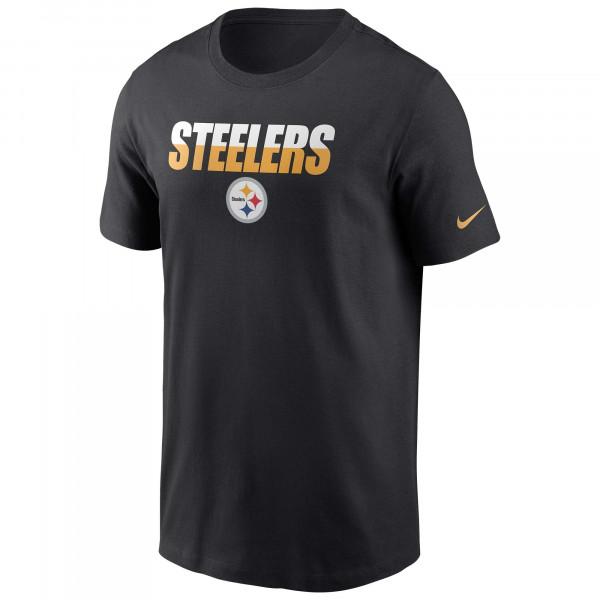 Pittsburgh Steelers Split Team Name Nike Essential NFL T-Shirt Schwarz