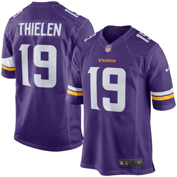Adam Thielen #19 Minnesota Vikings Game Football NFL Trikot Lila