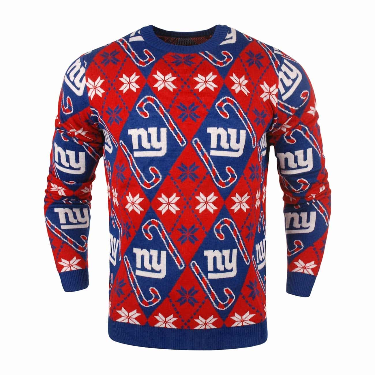 452781c0115 Forever Cellectibles New York Giants CANDY CANE Crewneck NFL Ugly Sweater