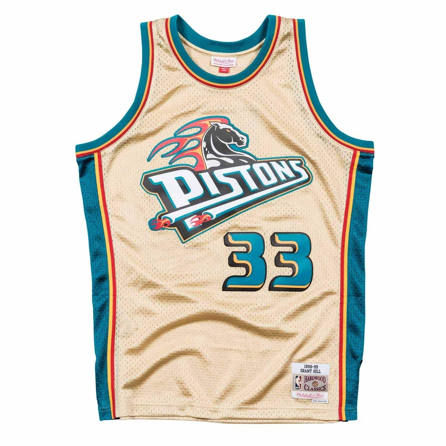 15a153423bde Mitchell   Ness Grant Hill  33 Detroit Pistons 1998-99 Gold Collection NBA  Jersey