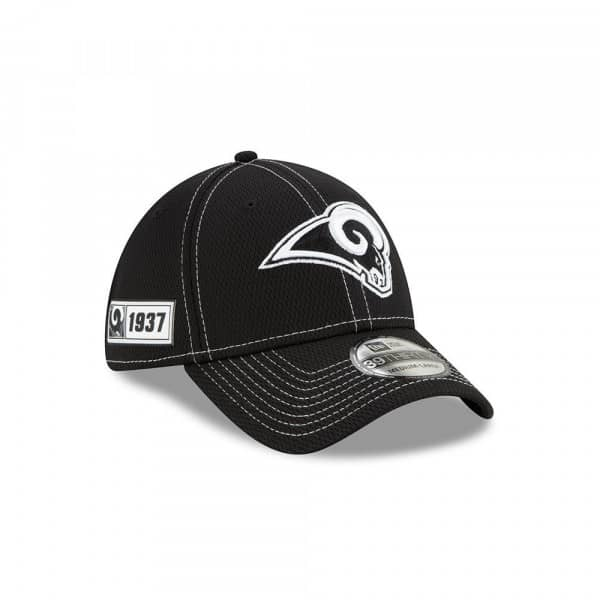 Los Angeles Rams 2019 NFL Sideline Black 39THIRTY Stretch Cap Road