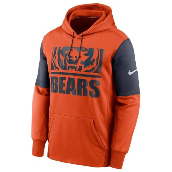 Chicago Bears Mascot Stack Nike Therma Pullover Hoodie Orange