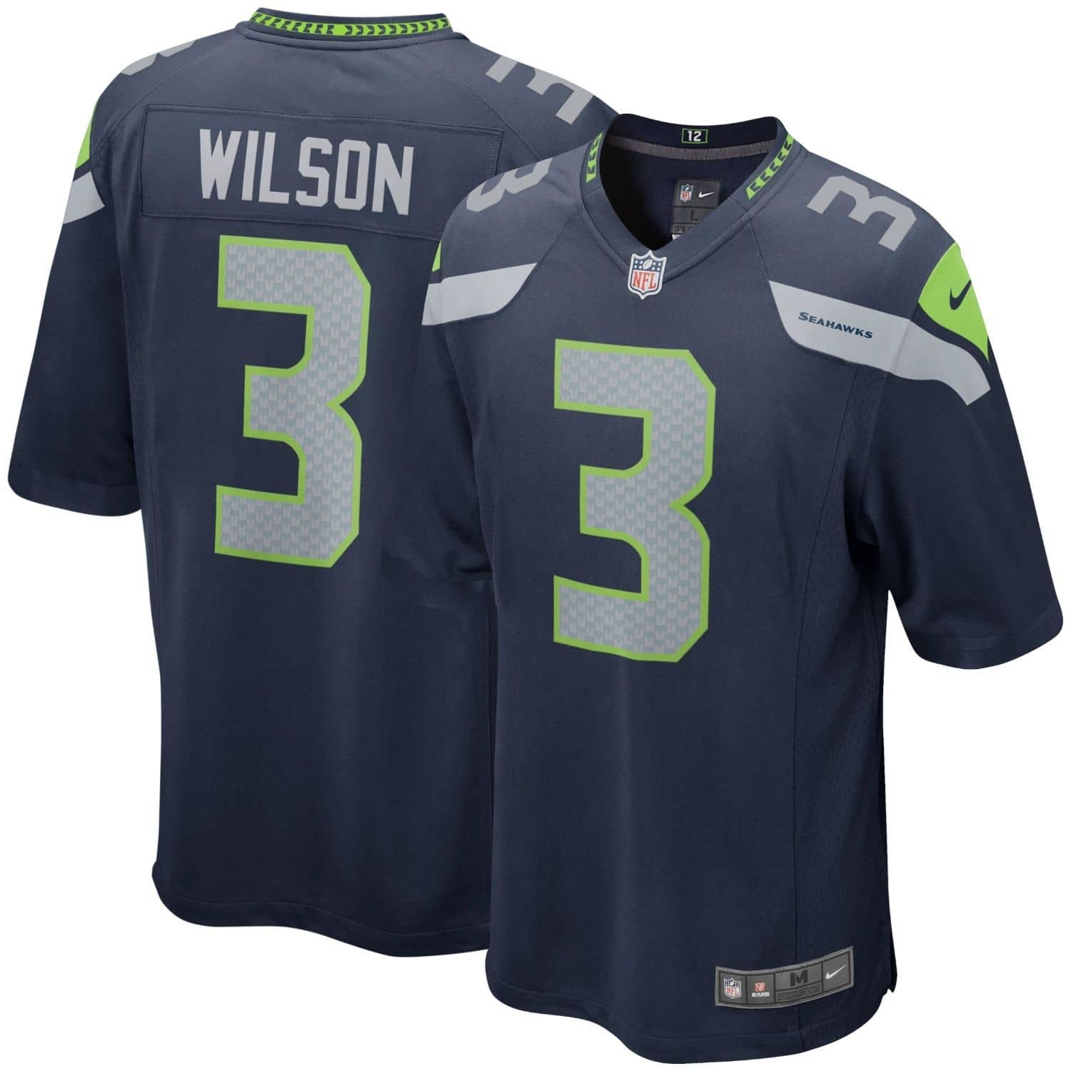 detailed look 574a3 8fc23 Russell Wilson #3 Seattle Seahawks Game Football NFL Jersey Navy