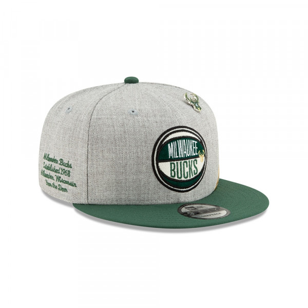 Milwaukee Bucks 2019 NBA Draft 9FIFTY Snapback Cap Heather Grey