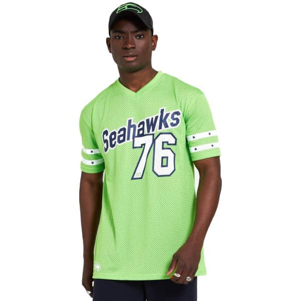 Seattle Seahawks #76 New Era Stripe Oversized Mesh NFL Fantrikot