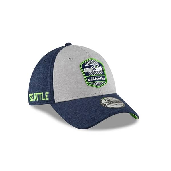 574354c8 New Era Seattle Seahawks 2018 NFL Sideline 39THIRTY Flex Cap Road |  TAASS.com Fan Shop
