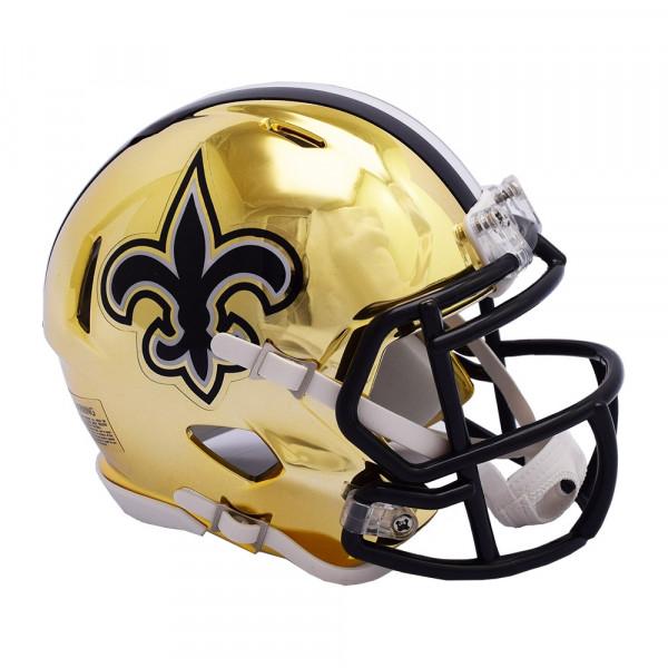 a49d82c0f8a Riddell New Orleans Saints NFL Chrome Alternate Speed Mini Helmet ...