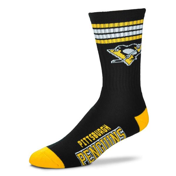 Pittsburgh Penguins 4 Stripe Crew NHL Socken Schwarz
