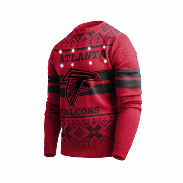 Atlanta Falcons 2 Stripe Light Up NFL Ugly Holiday Sweater