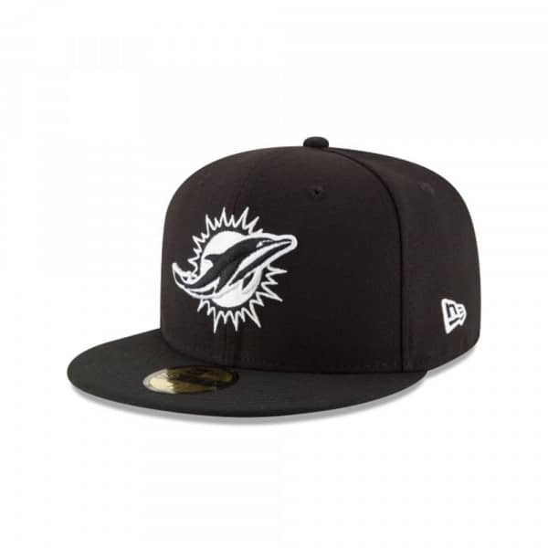Miami Dolphins Black & White 59FIFTY Fitted NFL Cap
