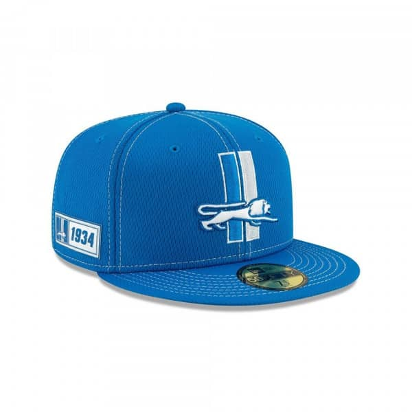 Detroit Lions Throwback 2019 NFL On-Field Sideline 59FIFTY Fitted Cap Road