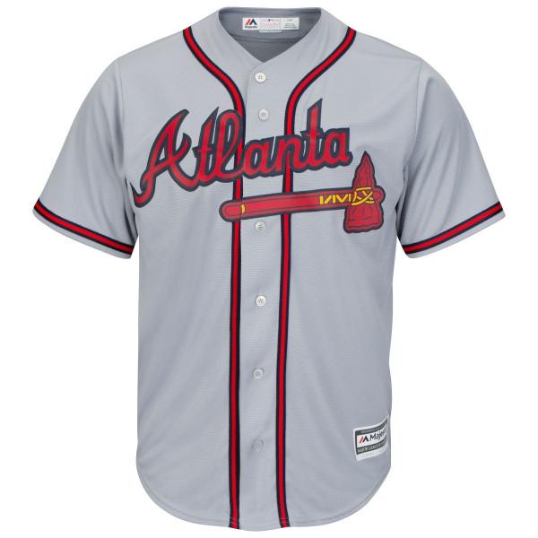 designer fashion eeac3 c6911 Atlanta Braves Cool Base MLB Jersey Road Grey