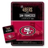 San Francisco 49ers Throwback NFL Metallschild & Magnet Set