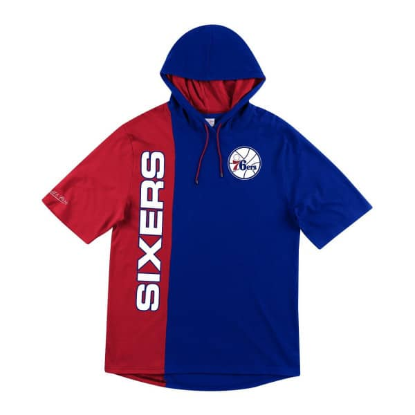 Philadelphia 76ers Split Mitchell & Ness Short Sleeve NBA Hoodie
