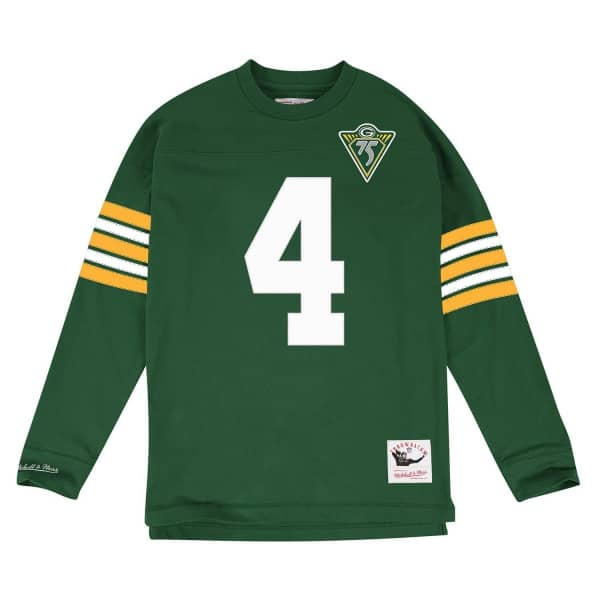 Brett Favre #4 Green Bay Packers Throwback NFL Long Sleeve Shirt
