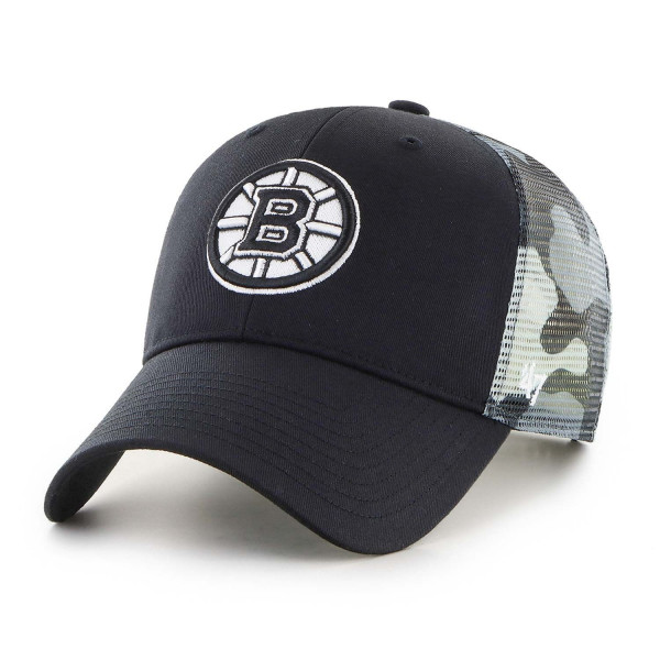 Boston Bruins White Camo Back Switch '47 MVP NHL Trucker Cap
