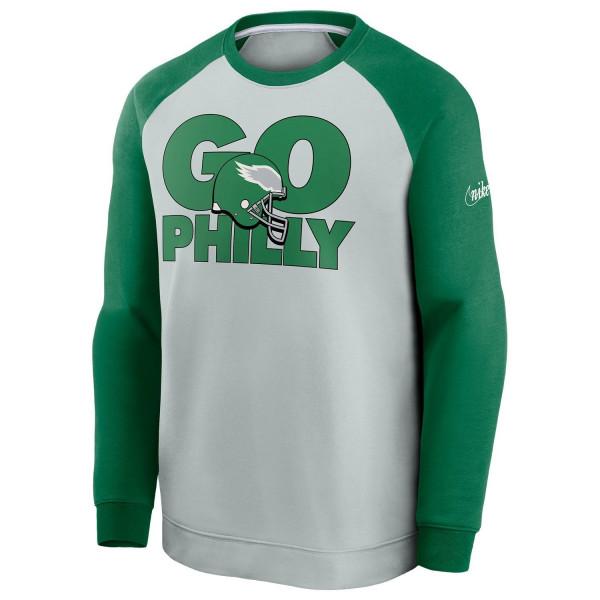 Philadelphia Eagles GO PHILLY Nike Throwback NFL Crewneck Pullover