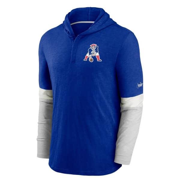 New England Patriots 1973 NFL Historic Nike Long Sleeve Henley Hoodie