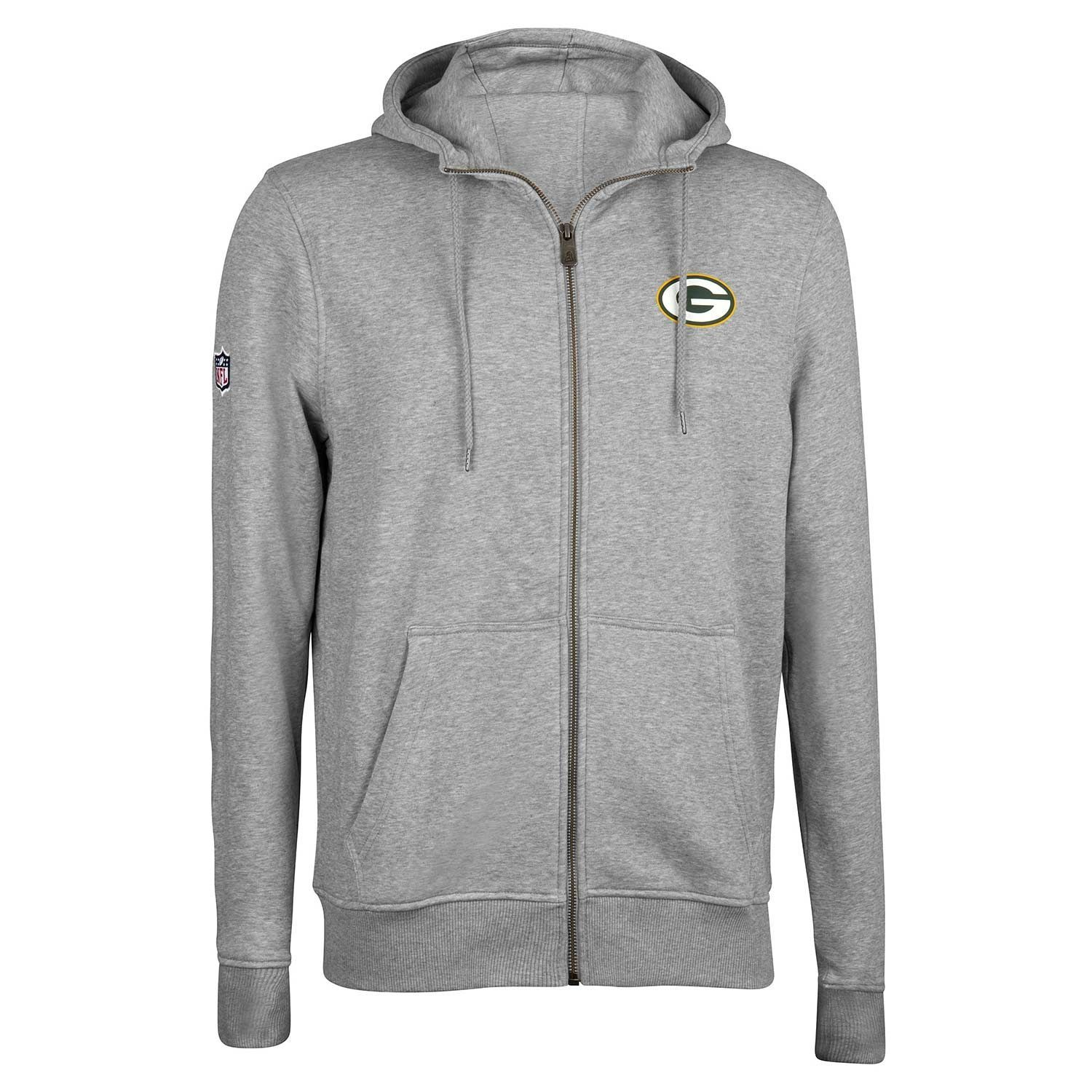 6b15932c4 New Era Green Bay Packers NO 19 Full-Zip NFL Hoodie Grey