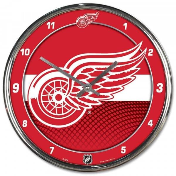 Detroit Red Wings Chrome NHL Wanduhr