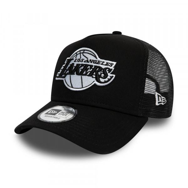 cheap for discount 756c5 b69ee New Era Los Angeles Lakers Black   White Essential Trucker NBA Cap    TAASS.com Fan Shop