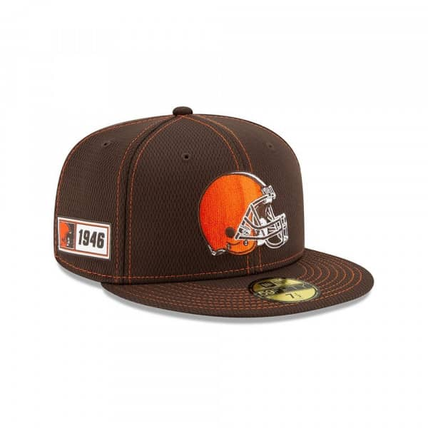 Cleveland Browns 2019 NFL On-Field Sideline 59FIFTY Fitted Cap Road