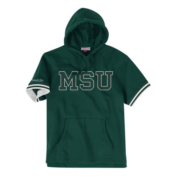 Michigan State Spartans French Terry Mitchell & Ness Short Sleeve NCAA Hoodie