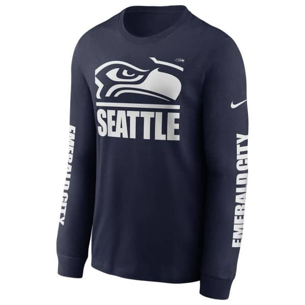 Seattle Seahawks Split Local Nike Long Sleeve Shirt Navy