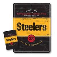 Pittsburgh Steelers Throwback NFL Metallschild & Magnet Set